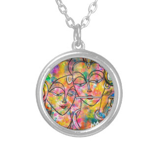 Radha Krishna abstract Silver Plated Necklace