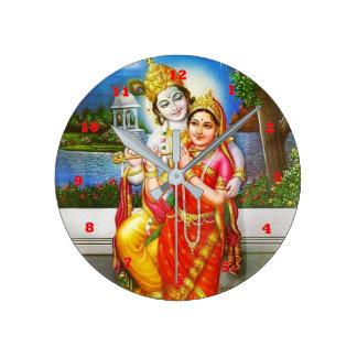 RADHA Krishna Flute Instrument Deity Holy Round Clock