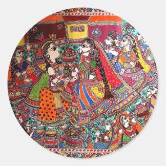 RADHA KRISHNA HINDU GODS MADHUBANI ART STYLE CLASSIC ROUND STICKER