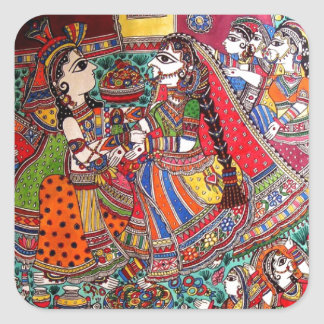 RADHA KRISHNA HINDU GODS MADHUBANI ART STYLE SQUARE STICKER