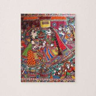 RADHA-KRISHNA MADHUBANI ANCIENT INDIAN ART STYLE JIGSAW PUZZLE