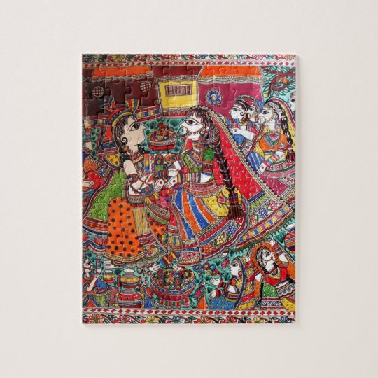 RADHA-KRISHNA MADHUBANI ANCIENT INDIAN ART STYLE JIGSAW PUZZLE