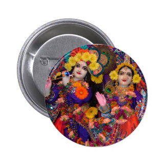 Radha-Krsna Rainbow Button
