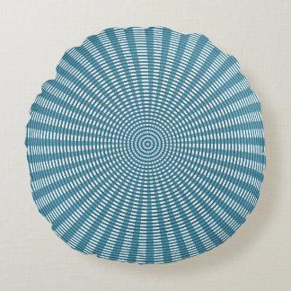 Radial Circular Weaving Pattern - Blue Round Pillow