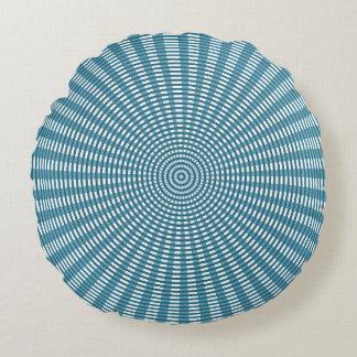 Radial Circular Weaving Pattern - Blue/Silver Round Pillow