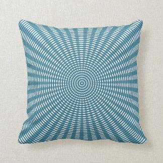 Radial Circular Weaving Pattern - Blue Throw Pillow