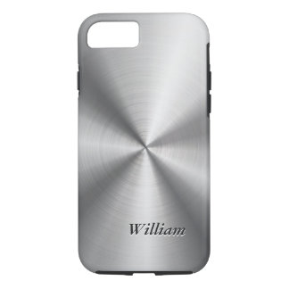 Radial Stainless Steel Pattern and Custom Text iPhone 7 Case