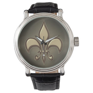 Radiant Black Gold Fleur de lis Watch