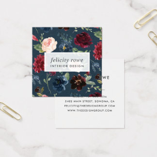 Radiant Bloom | Botanical Pattern Square Business Card
