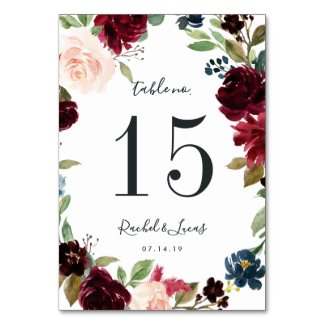Radiant Bloom | Personalized Table Number Card