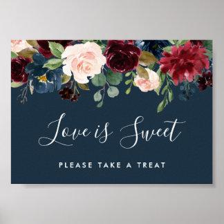 Radiant Bloom Wedding Dessert Bar Sign | Navy