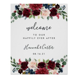 Radiant Bloom Wedding Welcome Poster