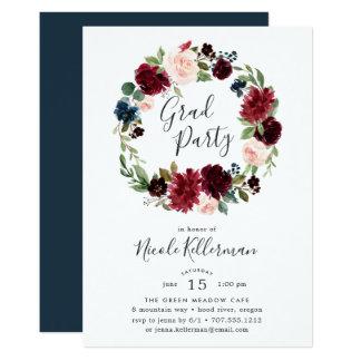 Radiant Bloom Wreath Graduation Party Invitation