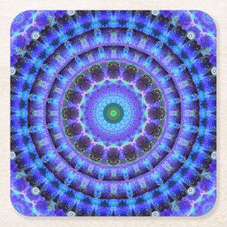 Radiant Core Mandala Square Paper Coaster