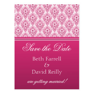 Radiant Glam Damask Save the Date Postcard