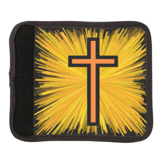 Radiant Orange & Black Christian Cross Luggage Handle Wrap