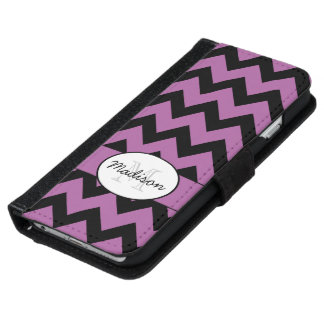 Radiant orchid chevron monogram iPhone 6 wallet