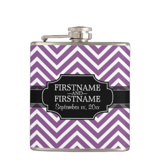 Radiant Orchid Chevron Pattern with Wedding Date Hip Flask
