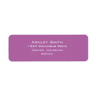Radiant orchid color of 2014 return address label