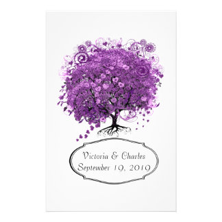 Radiant Orchid Heart Leaf Tree Wedding Personalized Stationery