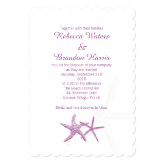 Radiant Orchid Starfish Couple Beach Wedding Card