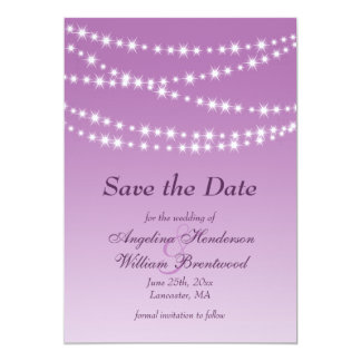 Radiant Orchid Twinkle Lights Save the Date Card