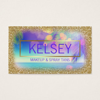 Radiant Palm Tree Faux Gold Glitter Business Card