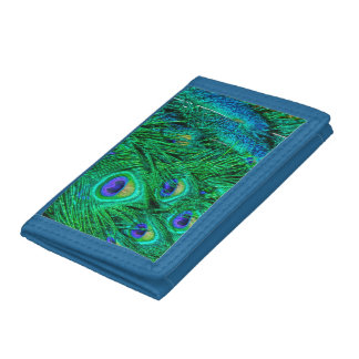 Radiant Peacock Feathers Photo Design Tri-fold Wallets