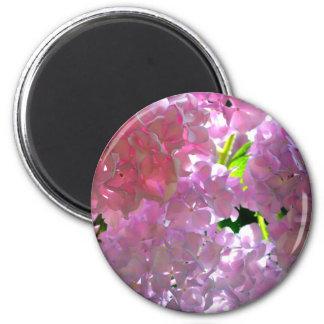 Radiant Pink hydrangeas 2 Inch Round Magnet