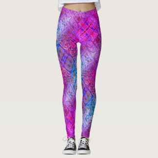 Radiant Pink Infused Mosaic Designed Leggings