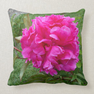 Radiant Pink Peony Throw Pillow