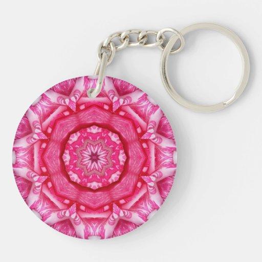 Radiant Pink Rose Mandala Keychain