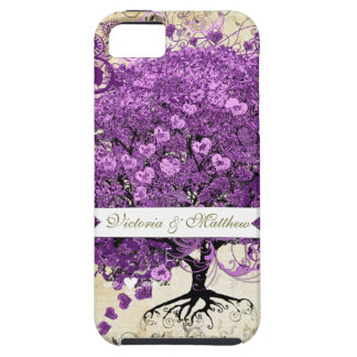Radiant Purple Heart Leaf Tree Wedding Case For The iPhone 5