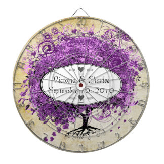 Radiant Purple Heart Leaf Tree Wedding Dartboard