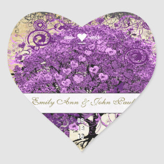 Radiant Purple Heart Leaf Tree Wedding Heart Sticker