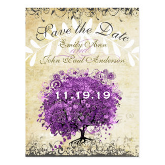Radiant Purple Heart Leaf Tree Wedding Postcard