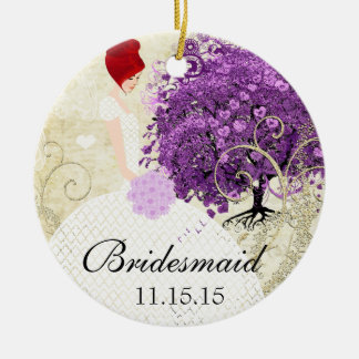 Radiant Purple Heart Leaf Tree Wedding Round Ceramic Ornament