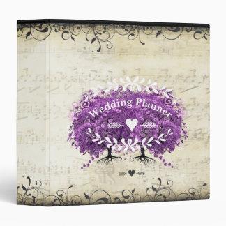 Radiant Purple Romantic Heart Leaf Wedding Binders
