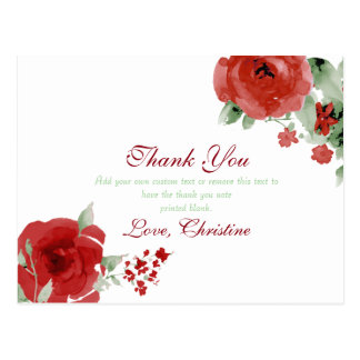 Radiant Red Watercolor Rose, Thank You Cards