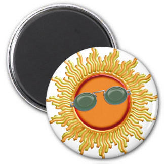 Radiant Sun with Sunglasses 2 Inch Round Magnet