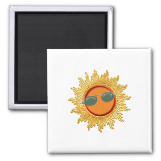 Radiant Sun with Sunglasses Square Magnet