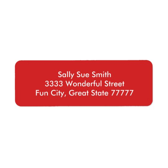 Radiantly Confident Red Colour Return Address Label