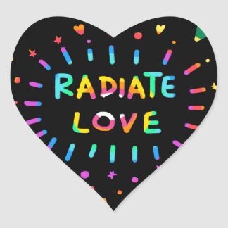 Radiate Love Colorful Rainbow Painting on Black Heart Sticker