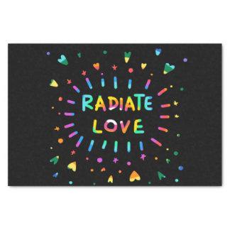 Radiate Love Colorful Rainbow Painting on Black Tissue Paper