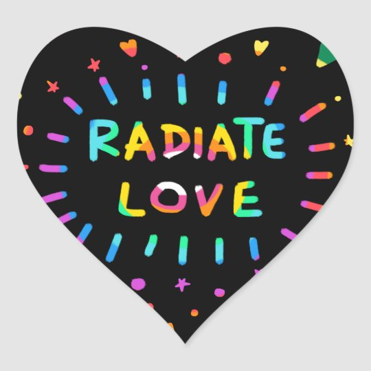 Radiate Love Colourful Rainbow Painting on Black Heart Sticker