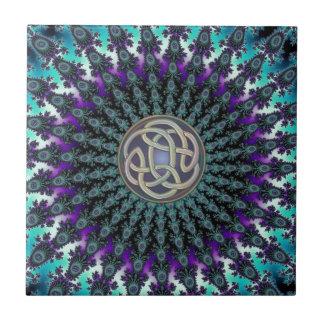 Radiating Fractal Mandala Grunge Celtic Knot Tile