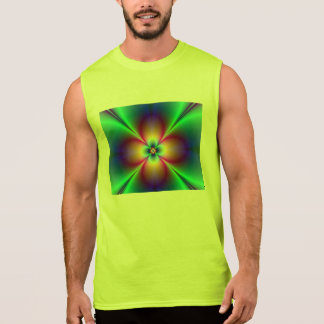 Radiating Neon Floral Fractal Sleeveless Shirt