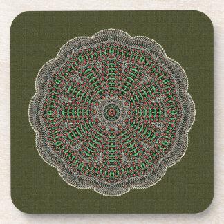 Radiating Textured Mandala Beverage Coasters