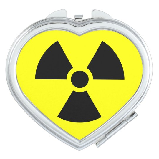 Radiation Sign  Heart Compact Mirror
