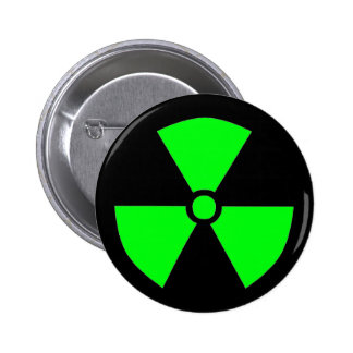 RADIATION SYMBOL 2 INCH ROUND BUTTON